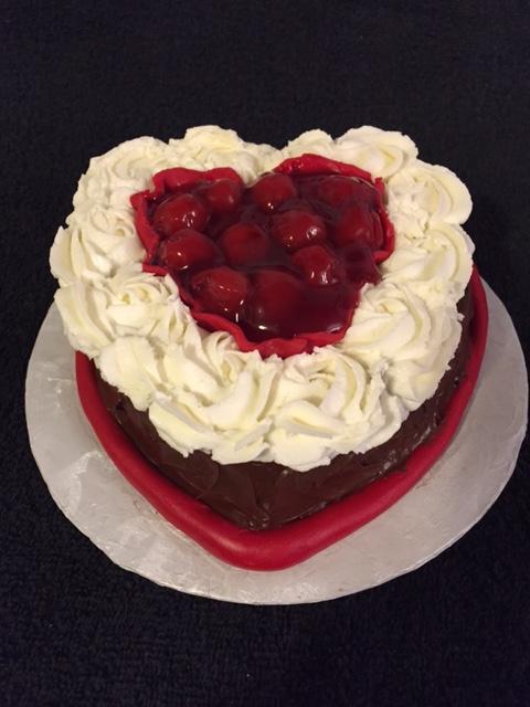 Mini Heart Cake with Cherries
