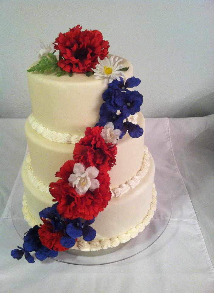 Red White And Blue Wedding Cake Elizabeth S Special Day