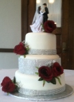Wedding Cake with Bling and Burg. Flowers